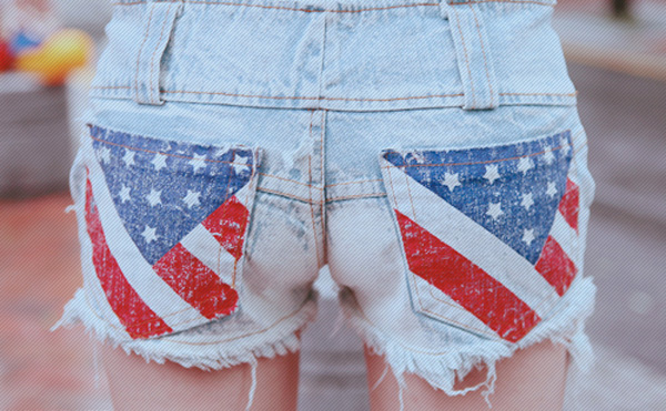 american 4th of july denim shorts pockets