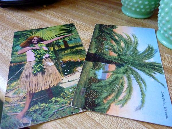 vintage mint green hawaii glass kitchen beads postcards aloha
