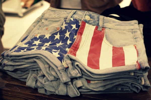 american flag denim shorts cut-offs