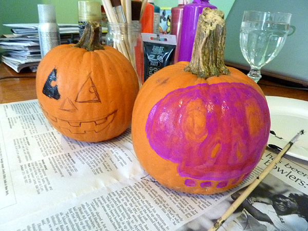 halloween pumpkin painting diy craft dia de los muertos