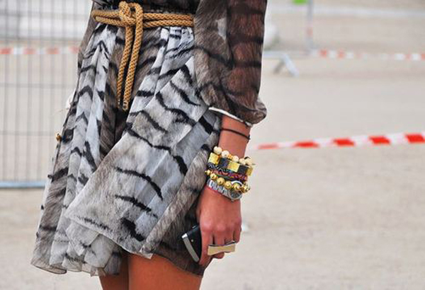 striped skirt gold bracelets fashion week