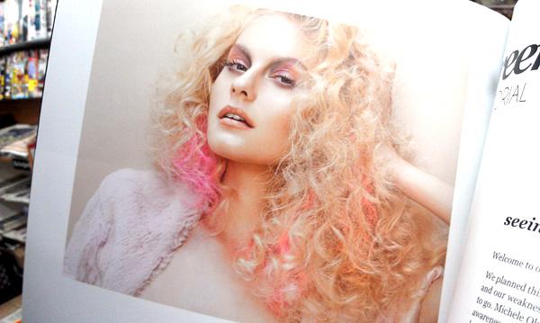 pink pastel hair magazine model