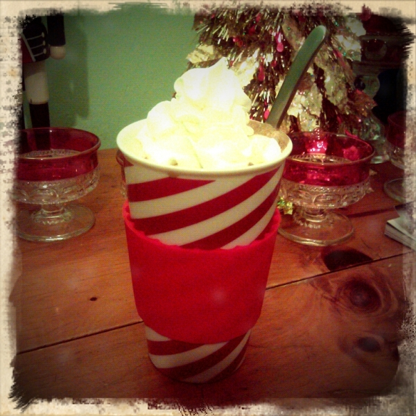 candy cane cup whip cream cocoa