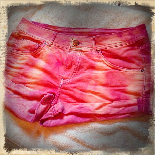 pink denim tie dye bleached shorts