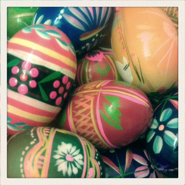 easter sunday polish wooden eggs