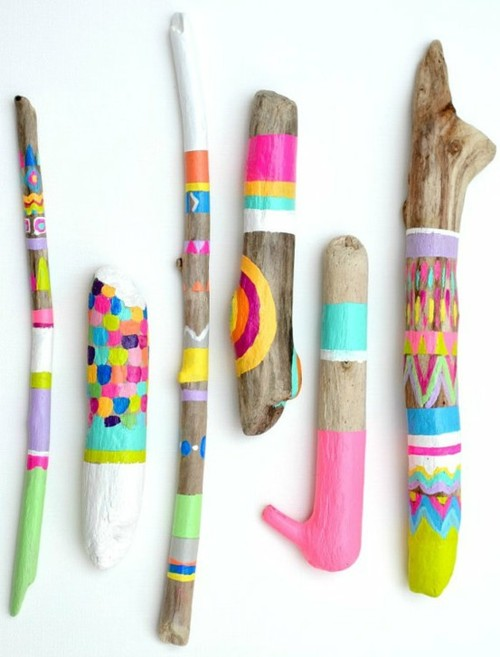 neon tribal painted sticks