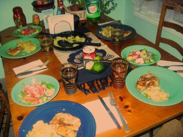 dinner mint green kitchen summer brooklyn