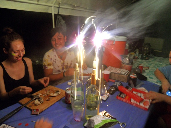 summer wine bottles sparklers camping