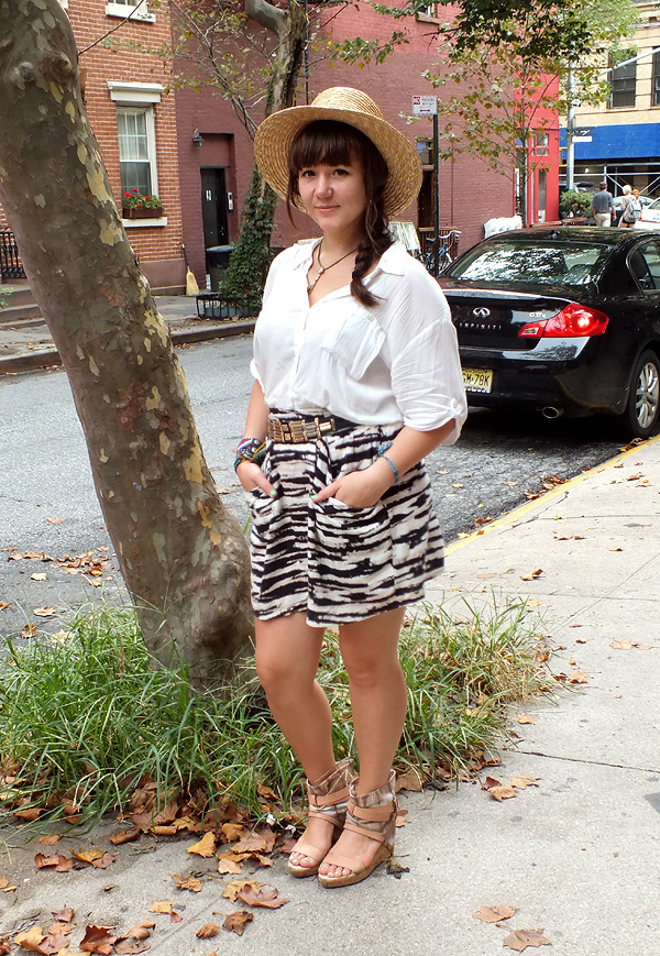 what i wore mishka zebra print wide brim hat