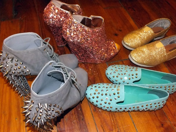 studded shoes spiked mint green metallic