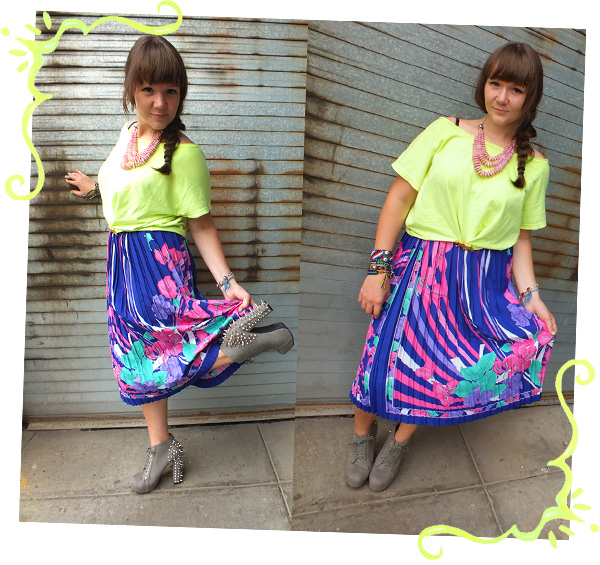 street style tropical neon skirt spiked shoes