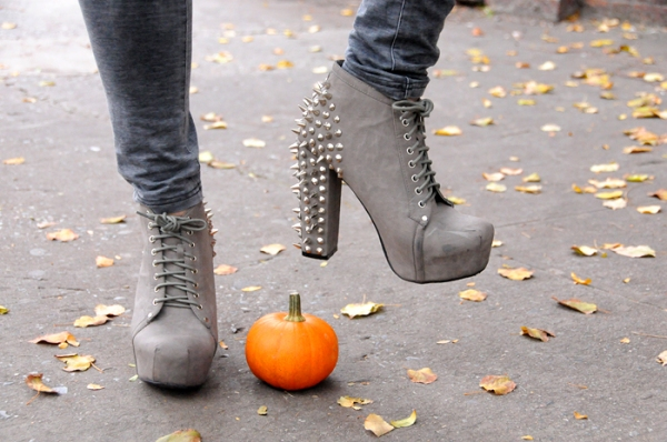 spiked studded heel ankle boots