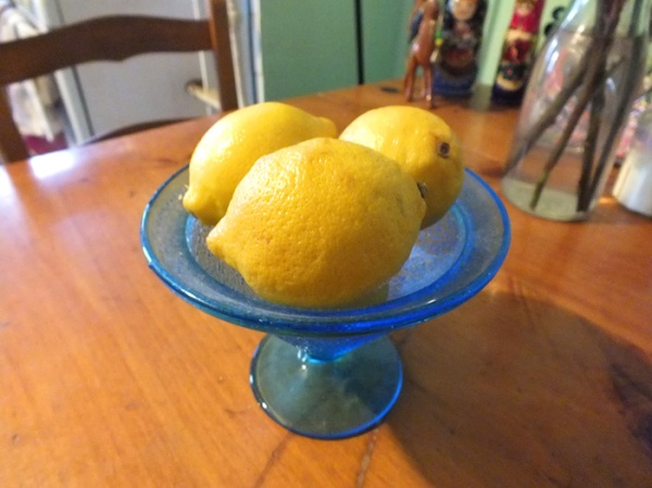 blue glass lemons