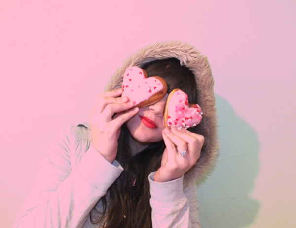 pink hair donut valentine's day