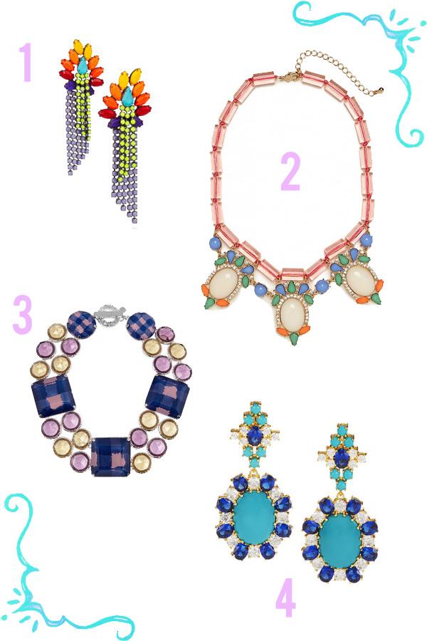 neon pastel rhinestone jewelry