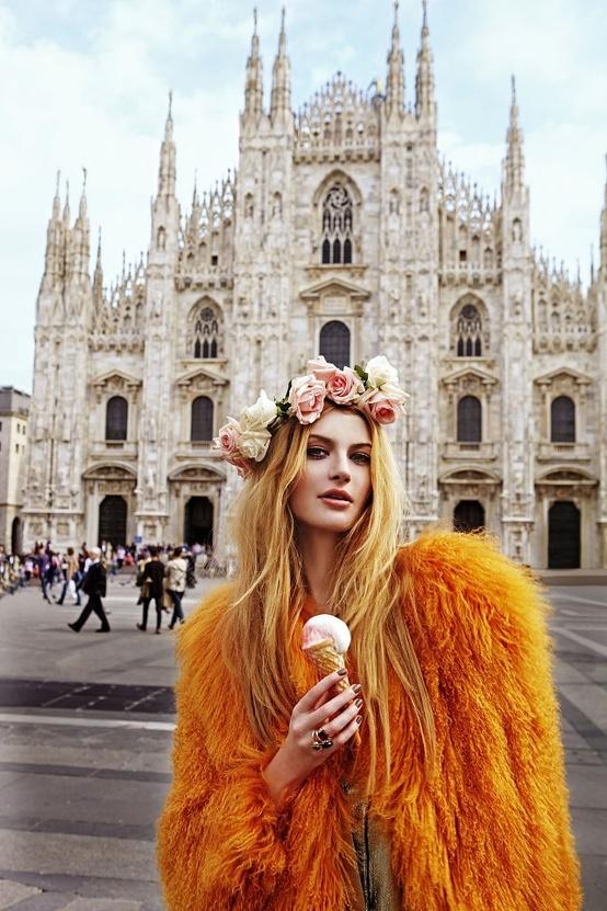 orange fur coat flower crown