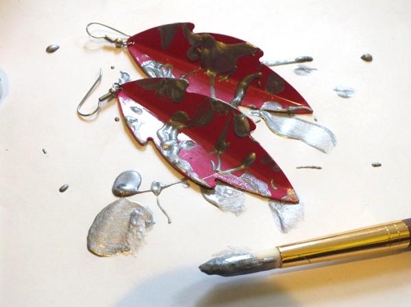 pink vintage earrings tutorial splatter glitter diy