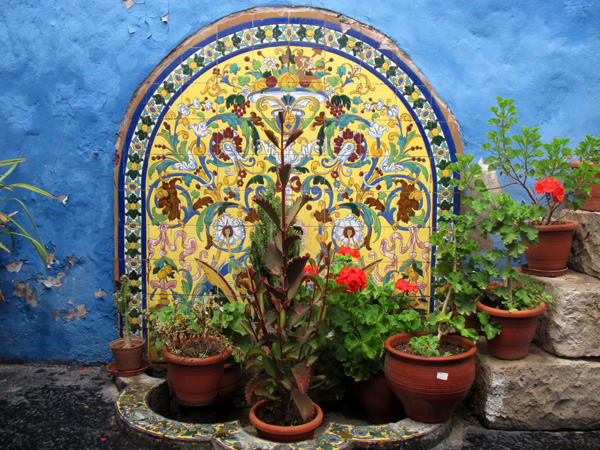 peru south america blue wall mosaic