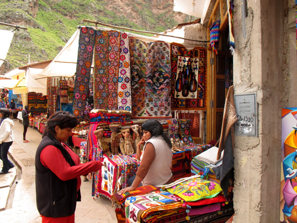 peru south america market textiles fabric