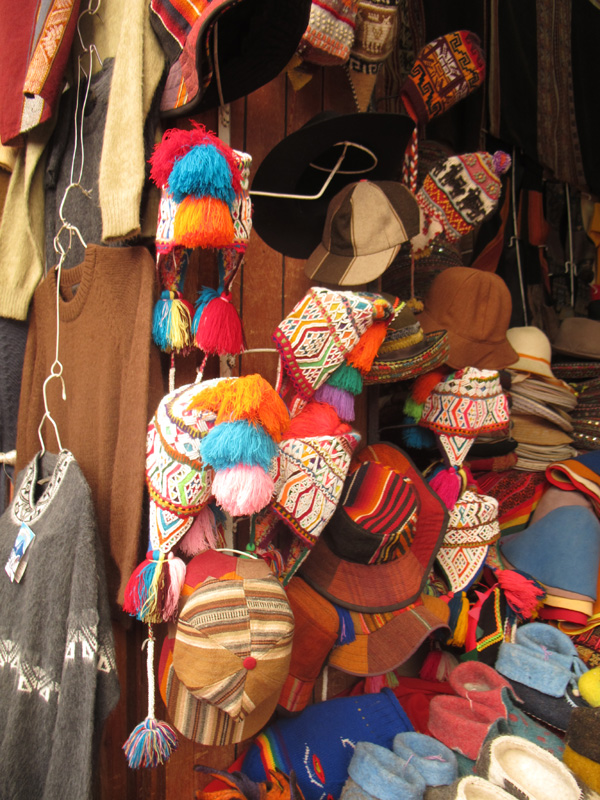 peru south america pom poms hats market