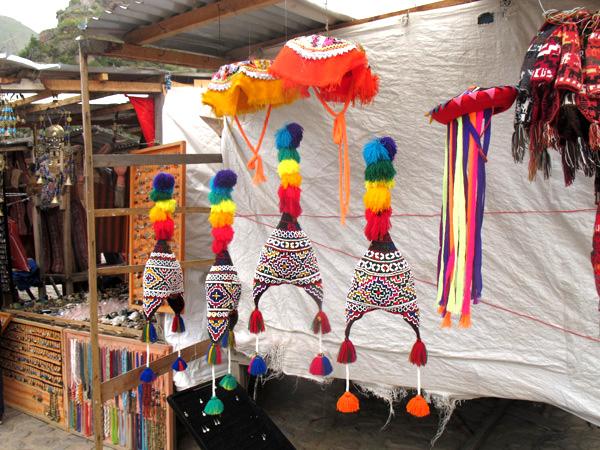 peru south america pom poms hats market