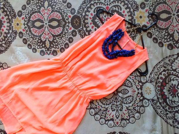 peach dress tropical summer