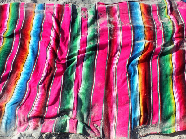 rockaway beach, beach day, beach outfit, serape blanket, neon pink, neon yellow, palm print, summer style