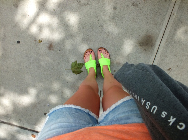 neon sandals cut off shorts nyc