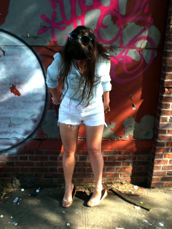 white denim cut-off shorts true religion