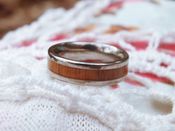 spring picnic floral prints wood ring jewelry