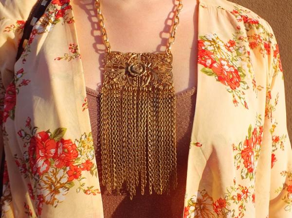 spring floral print boho festival style gold necklace