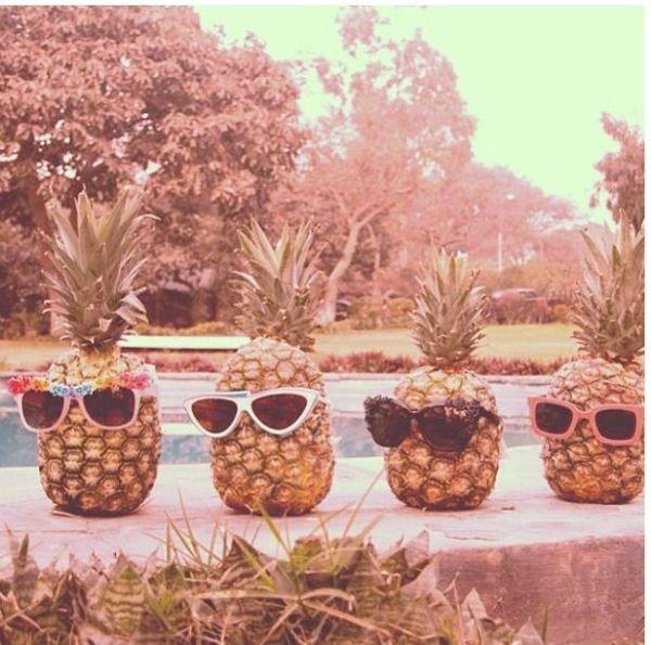 sunglasses on pineapples